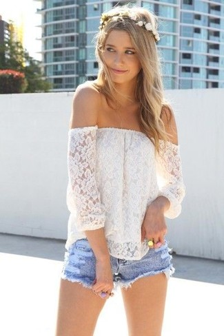 white-off-shoulder-top-light-blue-shorts-white-headband-gold-ring
